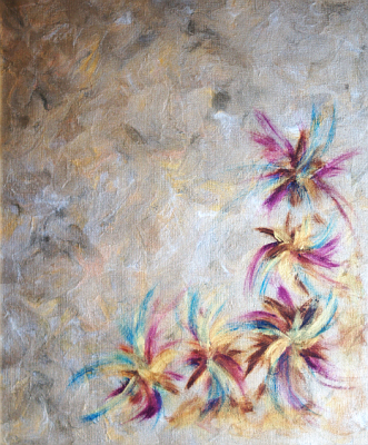 'The Flowers of Happiness III' - contemporary art painting, original author's theme, classical and modern techniques. Capital investment - art and business.